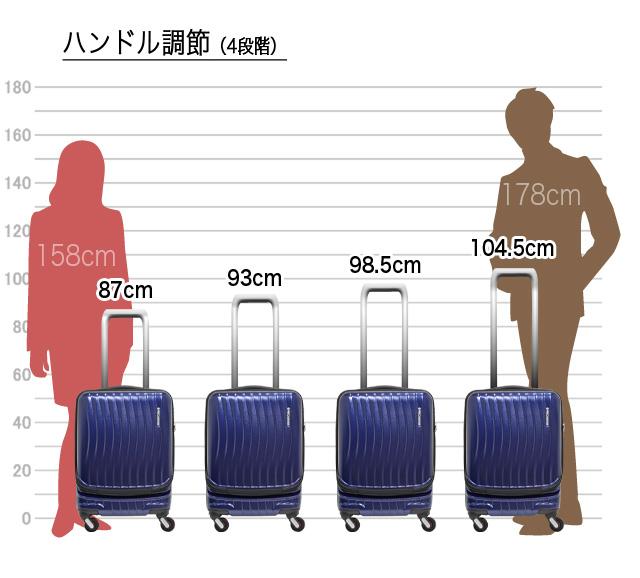 キャリーバーは、約87cm、93cm、98.5cm、104.5cmの高さに調節可能