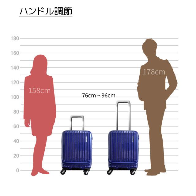 キャリーバーは、76~96cmの高さに調節可能