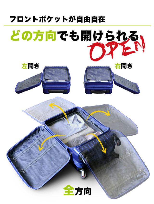 フロントポケットが自由自在 どの方向でも開けられる