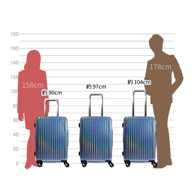 キャリーバーは約104cm、約97cm、約90cmの三段階の高さに調節可能