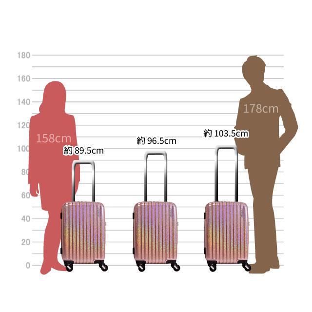 キャリーバーは約103.5cm、約96.5cm、約89.5cmの三段階の高さに調節可能