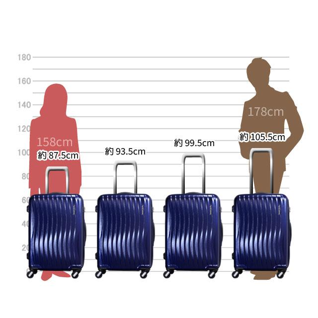 キャリーバーは約105.5cm、約99.5cm、約93.5cm、約87.5cmの四段階の高さに調節可能