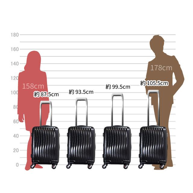 キャリーバーは、約87.5cm、93.5cm、99.5cm、105.5cmの高さに調節可能