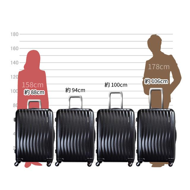 キャリーバーは、約88cm、94cm、100cm、106cmの高さに調節可能