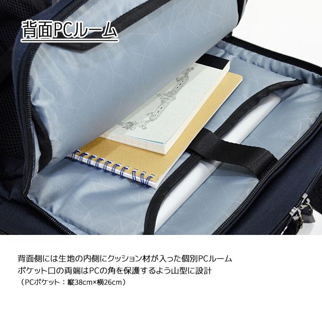 背面側には内側にクッション材が入った個別PCルーム ポケット口の両端はPCの角を保護するように山形設計