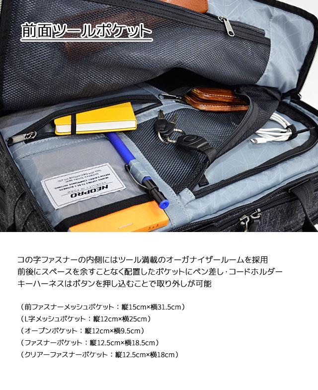 前面のコの字ファスナー内側にはツール満載のオーガナイザールーム 各所ポケット、ペン挿し、コードホルダー、キーハーネス