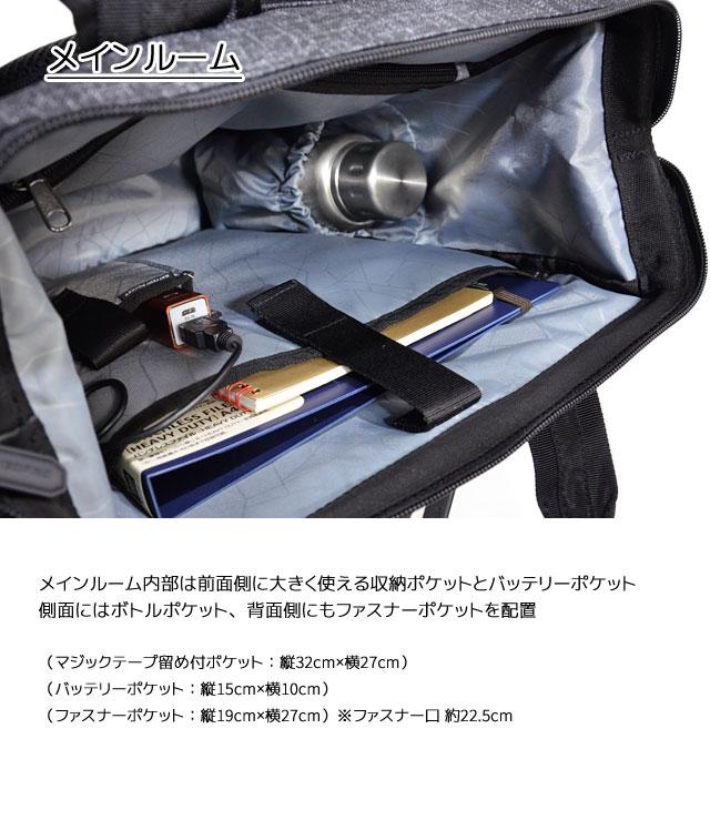 メインルームは前面側に大きく使える収納ポケットとバッテリーポケット、側面にはボトルポケット、背面側にもファスナーポケット