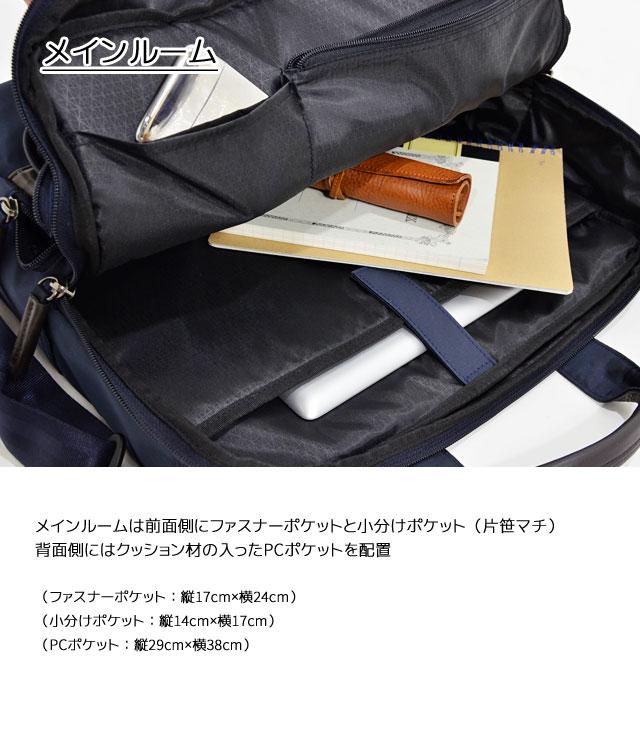 メインルームは前面側に大きなファスナーポケットと小分けポケット(片側ササマチ)、 背面側にはクッション材の入ったPCポケット