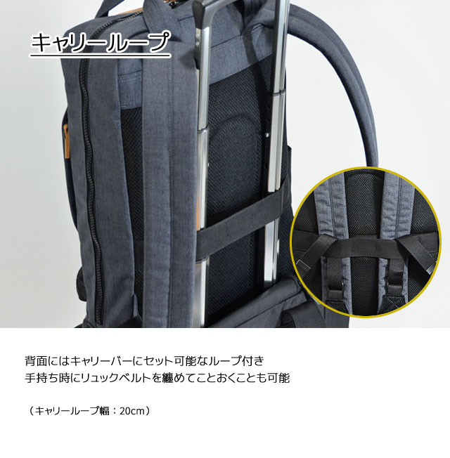 背面にはキャリーバーにセット可能なループ付き 手持ち時にリュックベルトを纏めておくことも可能