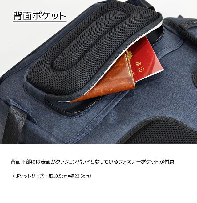 背中側下部分には表面がクッションパッドとなっているファスナーポケット
