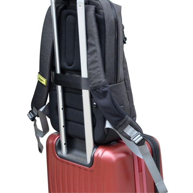 背中側にはキャリーループ付属。手持ち時にリュックベルトをまとめることも可能