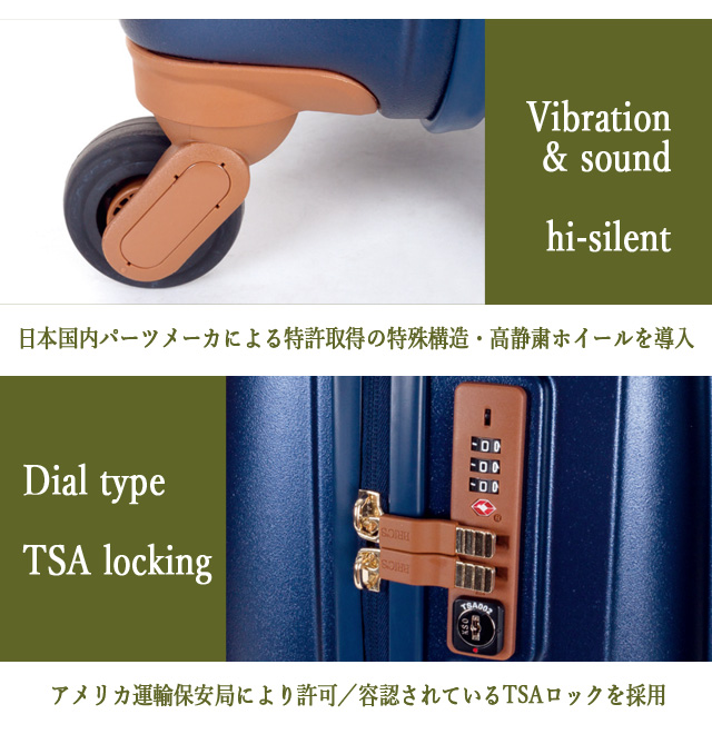 日本国内パーツメーカによる特許取得の特殊構造・高静粛ホイールを導入 アメリカ運輸保管局により許可/容認されているTSAロックを採用