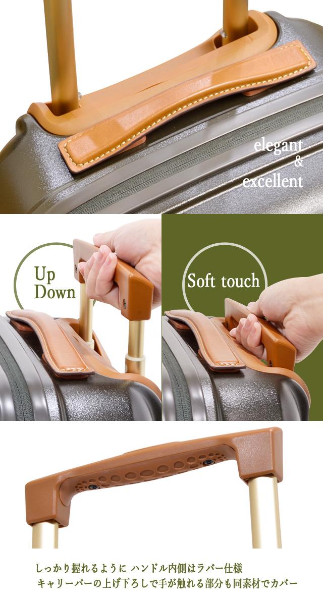 しっかり握れるように ハンドル内側はラバー仕様 キャリーバーの上げ下ろしで手が触れる部分も同素材でカバー