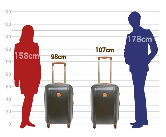 キャリーバーは、約98cm、107cmの高さに調節可能