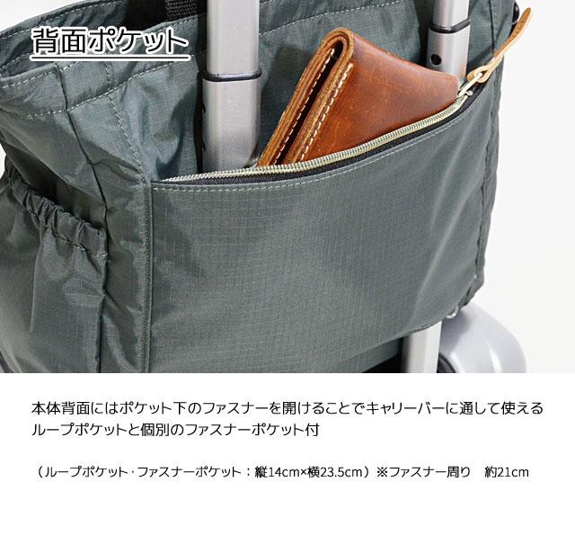 背面にはポケット下のファスナーを開けることでキャリーバーに通して使えるループポケットと個別のファスナーポケット