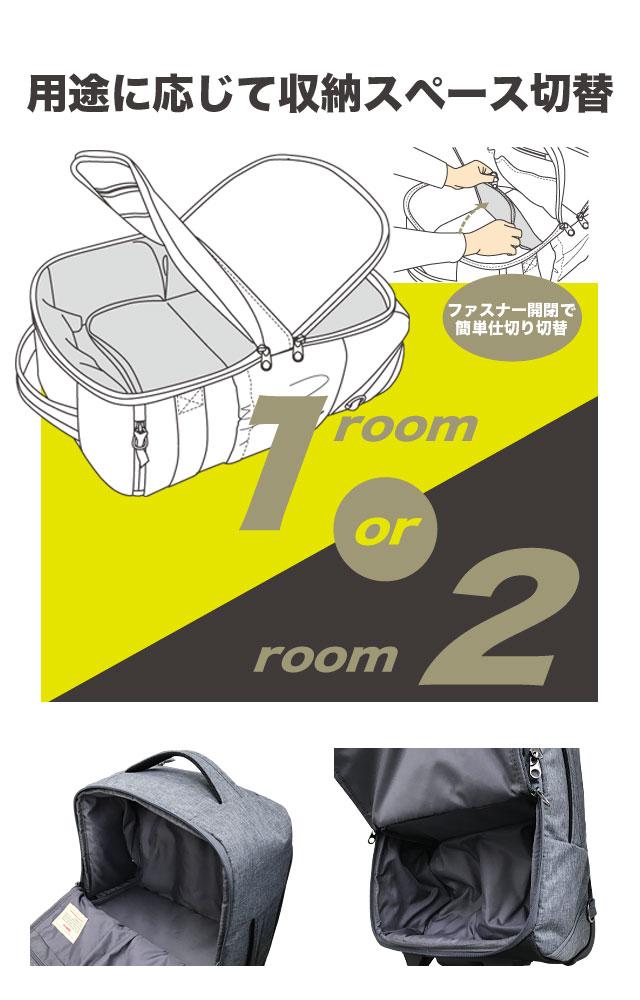 用途に応じて収納スペース切替 ファスナー開閉で簡単に1ルームから2ルームへ
