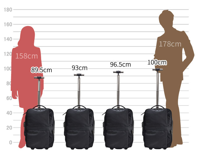 1-331 キャリーバー4段階調節 89.5cm 93cm 96.5cm 100cm